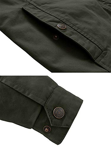 WenVen Men's Military Jacket Lightweight Cotton Stand Collar Casual Utility Coat