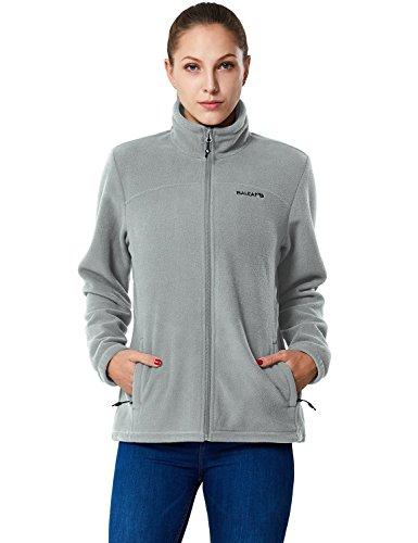 Baleaf Women's Full-Zip Thermal Fleece Jacket Light Gray Size (Fleece Training Jacket)