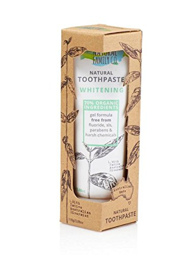 - THE NATURAL FAMILY & Co - Whitening Toothpaste - Original Formula - With Native Australian Rivermint And Sodium Bicarbonate and Papain - 70% Organic Ingredients - Vegan - Made in Australia - 110 gr