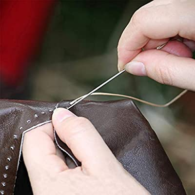 Including Curved Needles Triangle Needles Leather Embroidery Needles with Needle Case Straight Needles Thimble Scissors Finger Cot for Upholstery Carpet Leather Canvas Repair and Bookbinding