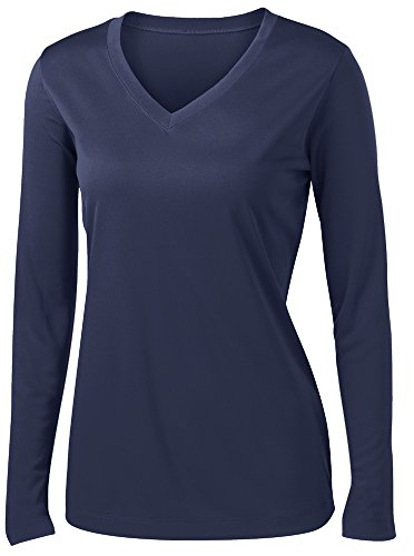 Ladies Long Sleeve Moisture Wicking Athletic Shirts Sizes XS-4XL ()
