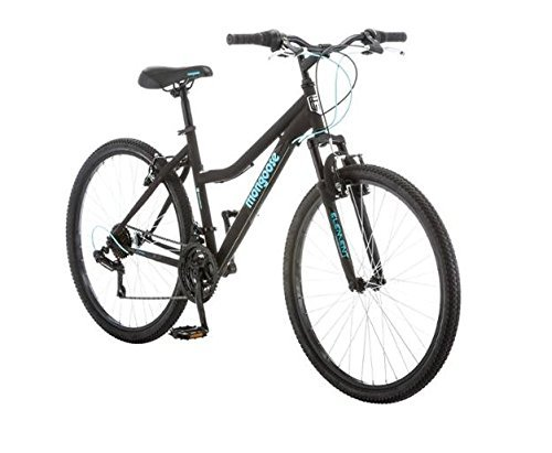 Mongoose 26 inch Excursion Durable Steel Frame Ladies Mountain Bike with Shimano Rear Derailleur- Black/Teal