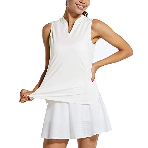BALEAF Women's Sleeveless Golf Tank Lightweight Quick Dry Tennis Shirts UPF 40+ V-Neck Tank Tops Polo
