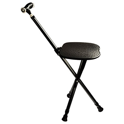 Cane Seat 300 lbs Capacity Combo Chairs Stool Folding Canes Seat Walking Stick Height Adjustment Massage Crutches Seat Aluminum Walking Stick Travel Aid for Elder Black by M-GYG