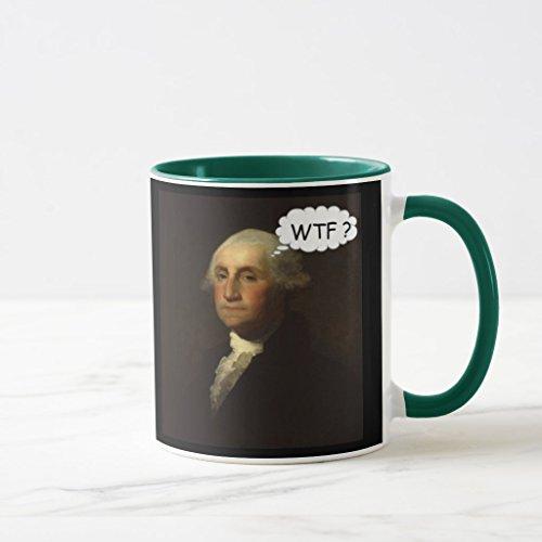 Zazzle George Washington Spinning in His Grave Funny Mug, Hunter Green Combo Mug 11 oz