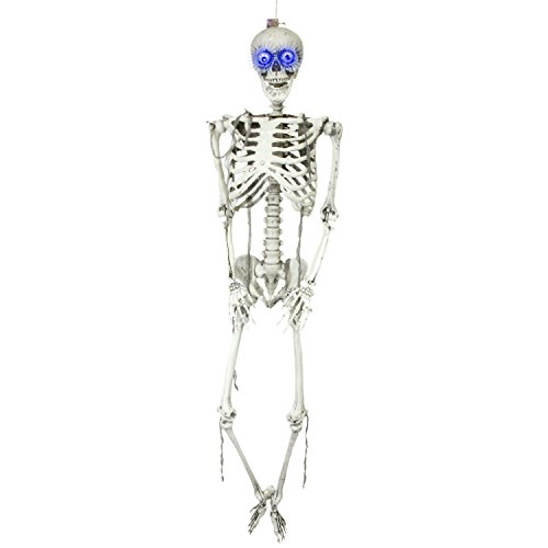 (Halloween Haunters 5 Foot Life Size Hanging Full Body Skeleton Plastic Light-Up Eyes Prop Decoration - Posable Joints, Realistic Human Bones, Scary)