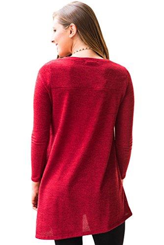 Nouveau Bouton rouge Face à manches longues Swing Pull Chemisier de soirée pour femme Tenue décontractée d'été Taille UK 14EU 42