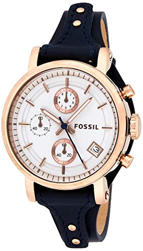 Fossil Women's Original Boyfriend Quartz Stainless Steel and Leather Chronograph...