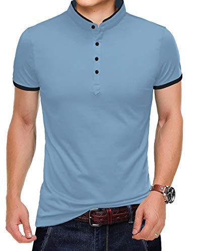 KUYIGO Men's Casual Slim Fit Shirts Pure Color Short Sleeve Polo Fashion T-Shirts Large Denim Blue