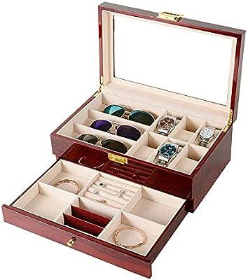 Chengzuoqing Joyero 6 Ver Caja de 3 Lentes con cajón de exhibición de joyería Organizador de Caja de Metal Almacenamiento de Cristal Grande Superior Pulseras Organizador Cajas De Almacenaje De Joyas: Amazon.es: