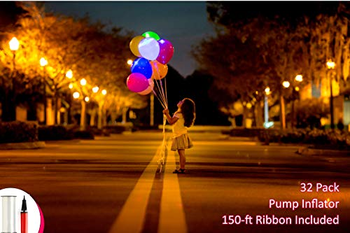 LED Balloons Light Up Balloons For Party, Birthday, Wedding, Neon Colors Lights Lasts 12-48 Hours, Double Action Balloon Pump + 150 Feet -