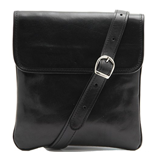 Tuscany Leather Joe Bolsillo unisex en piel Marrón oscuro Negro