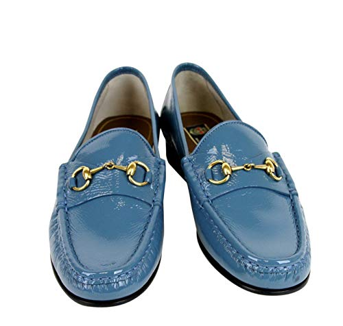 7b018a5d9 Amazon.com: Gucci Soft Patent Blue Leather Horsebit Loafer 338348 4400:  Shoes