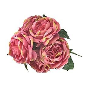 "OOKi oki-Artificial Fake Flowers 1 Bouquet with 6 Silk 6"" Big Rose Head Flower Arrangements Wedding Bouquets Decorations Plastic Floral Table Centerpieces Home Kitchen Garden Party Décor 20"