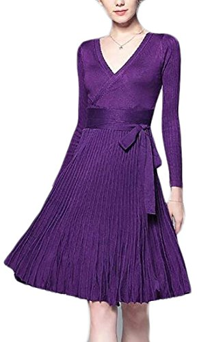 Elegant Dress Long Womens Swing V Midi Sleeve Neck 3 Jaycargogo 58Tqna8