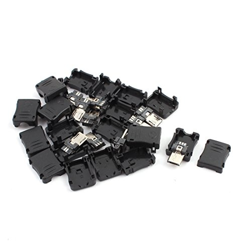 uxcell a15061700ux0139 10PCS 5-Pin Micro USB Type B Male Connector w Plastic Cover for DIY Pack of 10 (10 Pin Mini Usb Female Socket Connector)