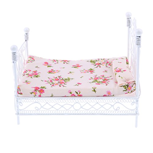 CUTICATE Handmade Iron Double Bed Mattress Pillow Set, 1/12 Dollhouse Bedroom Furniture Supplies, Photography Props ()