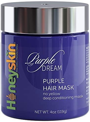 Purple Hair Mask for Blonde, Silver or Platinum Color - Sulfate Free - Deep Conditioning for Gray, Bleached, Highlighted and Color Treated Hair - Natural Blue Masque for Violet and Silver Tones (4oz) (Best Toner For Yellow Bleached Hair)
