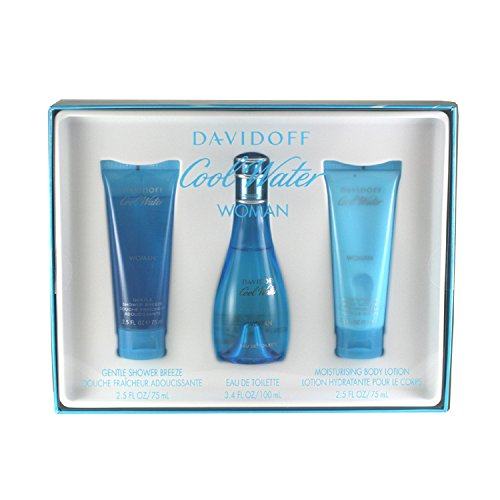 Zino Davidoff Cool Water Gift Set has 3 items. Eau De Toilett Spray 3.4 ounces, Body Lotion 2.5 ounces, and Shower Breeze 2.5 - Perfumes Water Cool Women For Set