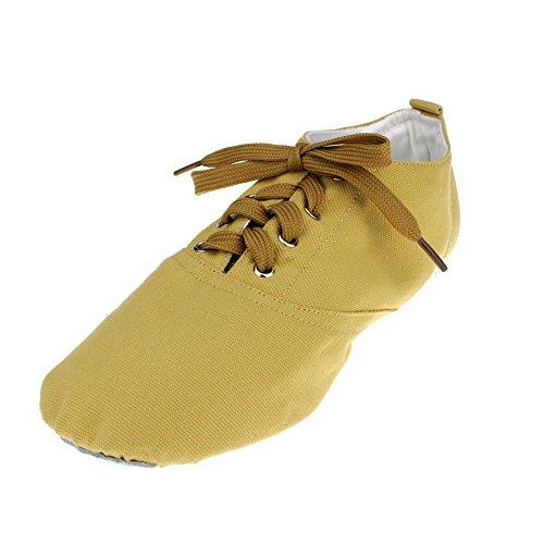 Womans Canvas Low Heel Ballet Dance Sneaker Camel