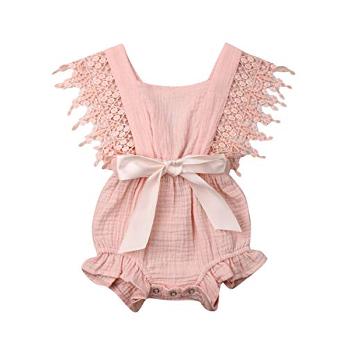 Newborn Infant Baby Girl Clothes Lace Halter Backless Jumpsuit Romper Bodysuit Sunsuit Outfits Set (Pink, 12-18 -