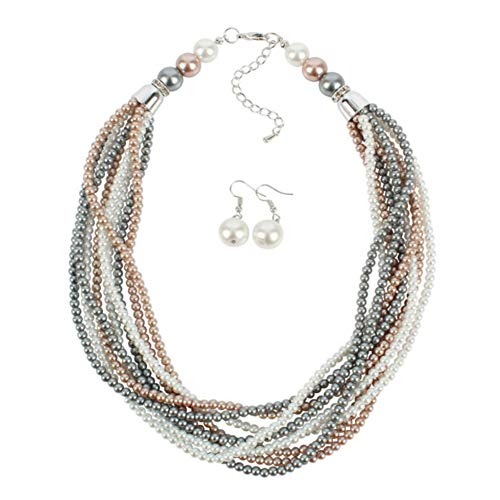 (Yuhuan Women Multilayer Strand Faux Pearl Beads Choker Necklace and Earrings Set)