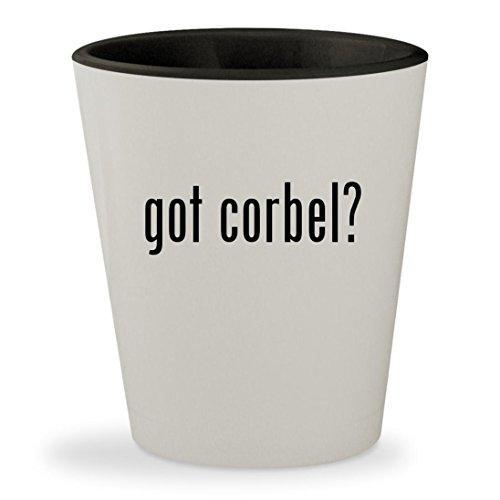 got corbel? - White Outer & Black Inner Ceramic 1.5oz Shot Glass - Mission Oak Oak Game Table