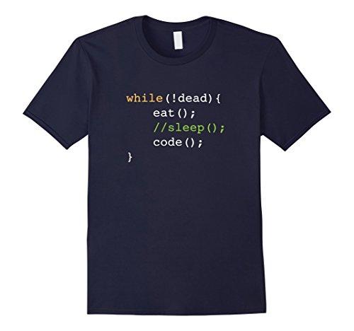 Mens Funny Computer Science Programmer Eat Sleep Code T-Shirt Medium Navy