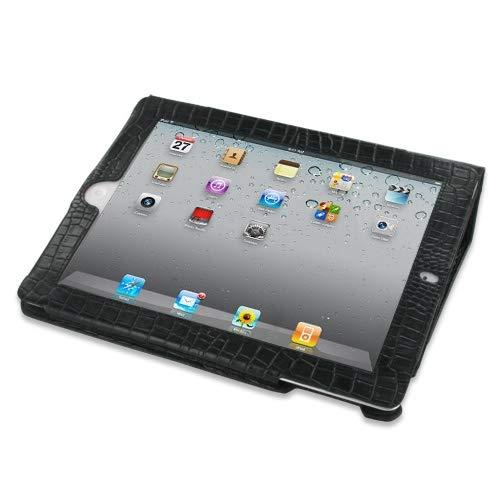 (PDair iPad 2/3/4 Flip Case Cover (Black Crocodile Pattern), Genuine Leather Foilo Stand Case Skin - Hand Made Leather Book Stand Case for Apple iPad 2/3/4)