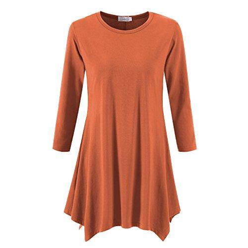 Topdress Women's Swing Tunic Tops 3/4 Sleeve Loose T-Shirt Dress Brick Red 2X ()