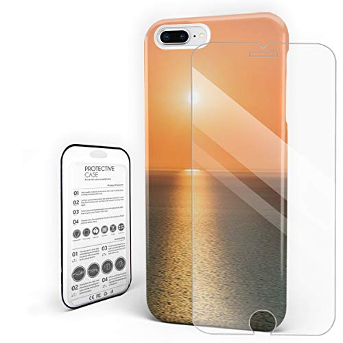 Phone Case for iPhone 7 Plus/8 Plus Case Cover, Sunrise Over Ocean Magical Horizon Seascape Coastal Theme, Protective Shockproof Anti-Scratch Back Case with Tempered Glass Screen Protector - Tools Cable Coastal