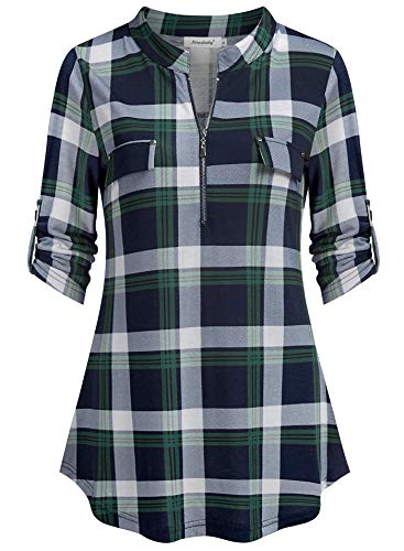 Ninedaily Tunics for Women 3/4 Sleeve, Plaid Shirts Teal Turquoise Tan Violet Turn Down Collar Grid Sexy Deep V Neck Form Fitting A-Line Tops Fashion 2019, Navygreenplaid, S/US 4-6