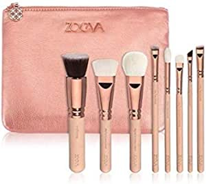 8PCS Zoeva Professional Powder Eyeshadow Set Rose Pink Luxury Cosmetic Makeup Rose Pink Luxury Complete Tools Dazzle Colour Brushes With PU Bag for Women
