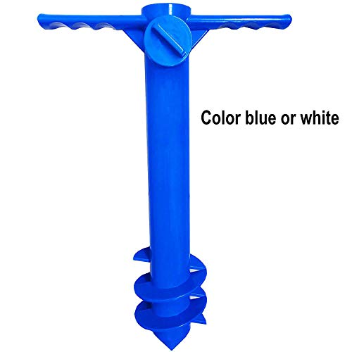 AMMSUN Beach Umbrella Sand Anchor Stand Holder with 3-Tier Screw, One Size Fits All Safe for Strong Wind (Blue or White)