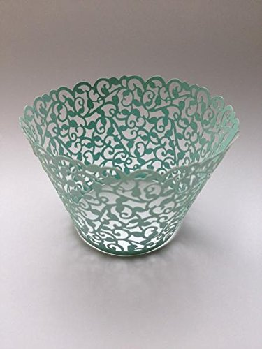 12 pcs Classic Filigree Lace Cupcake Wrappers Wrapper for Standard Size Cupcake Liners (Mint Green)]()