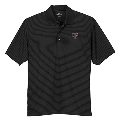 Elite Fan Shop Texas A&M Aggies Striped Performance Polo Golf Black - XL