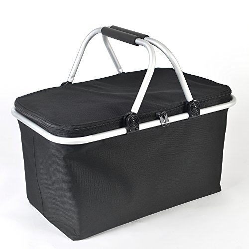 Wishpool Thermal Insulated Cooler Tote Bag Collapsible Wine Water Grocery Shopping Outdoor Picnic Lunch Bags Box Basket 18 9  X 11  X 9 5   Black