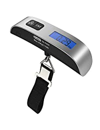 Backlight LCD Display Luggage Scale, Dr.meter 110lb/50kg Electronic Balance Digital Postal Luggage Hanging Scale with Rubber Paint Handle,Temperature Sensor, Silver/Black