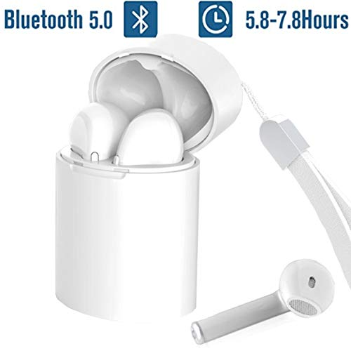 LarKoo Wireless Siri Bluetooth 5.0 Earbuds with Charging Box Wireless Headphones Bluetooth Headset Earphones Siri Next Song Control for iPhone,Android Other Smart Devices (White)