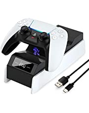 Dual Controller Charger Compatible for PS5 / Xbox Series S/X/Nintendo Switch/Xbox Elite 2 Controllers, Multifunctional Controller Charging Station Compatible for Playstation 5, Dual USB Fast Charging Dock