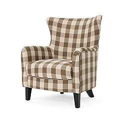 Farmhouse Accent Chairs Oliver Farmhouse Armchair, Brown Checkerboard farmhouse accent chairs