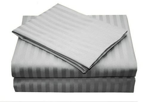 re Duvet Cover Set (1 Duvet Cover & 2 Pillowcase) 400 Thread Count 100% Cotton Duvet Cover Ultra Soft & Easy Care,Simple Style Bedding Set (Super King , Light Grey Stripe) ()