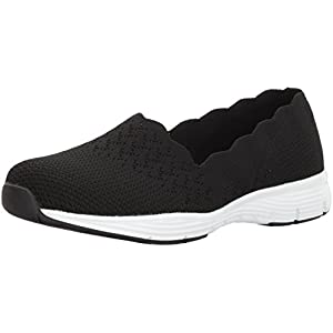 Skechers Women's Seager-Stat-Scalloped Collar, Engineered Skech-Knit Slip-on-Classic Fit Loafer