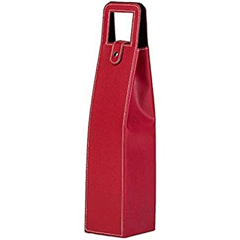 Leather Single Bottle Wine Carrier Box (Red)