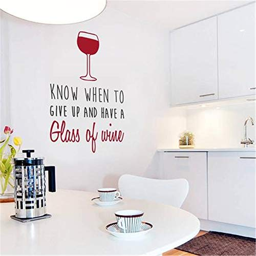 Wall Decal Mural DIY Removable Sticker Decoration Know When to Give Up and Have a Glass of Wine (Best Wine To Have With Curry)