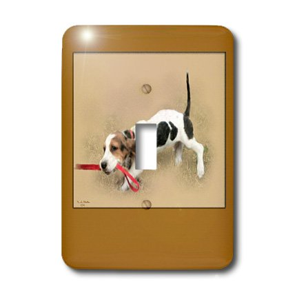 3dRose LLC lsp_20529_1 Digital Painting of a Bassett Hound Puppy Pulling on The Leash Lead The Way - Single Toggle Switch