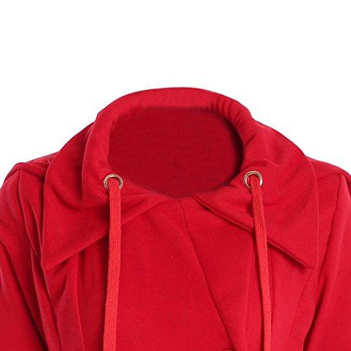 Mi Tunique Taille Rouge Hiver Longue Hooded B Vintage Chaud Manteaux HzqwqBP