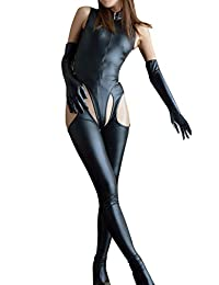 Velius Women's Sexy Leather Zipper Crotchless Cosplay Bodysuit Lingerie Clubwear