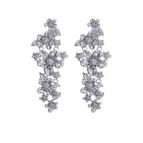 (Sinfu Women's Elegant Vintage Jasmine Flower Vine Long Earrings Stud Earrings Wedding Party Accessories Jewelry (Silver))