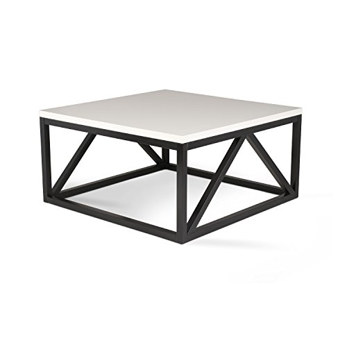 - Kate and Laurel Kaya Two-Toned Wood Square Coffee Table with White Top and Black Base